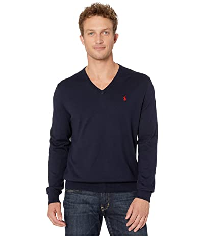 Polo Ralph Lauren Cotton V-Neck Sweater (Hunter Navy) Men
