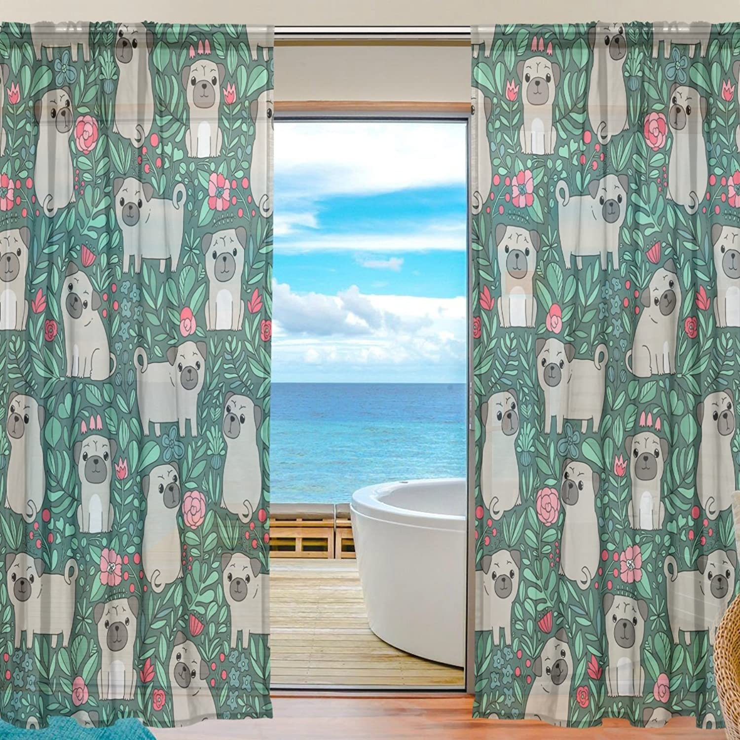 Vantaso Sheer Curtains 78 inch Long Little Pug Dog with Spring Floral for Kids Girls Bedroom Living Room Window Decorative 2 Panels