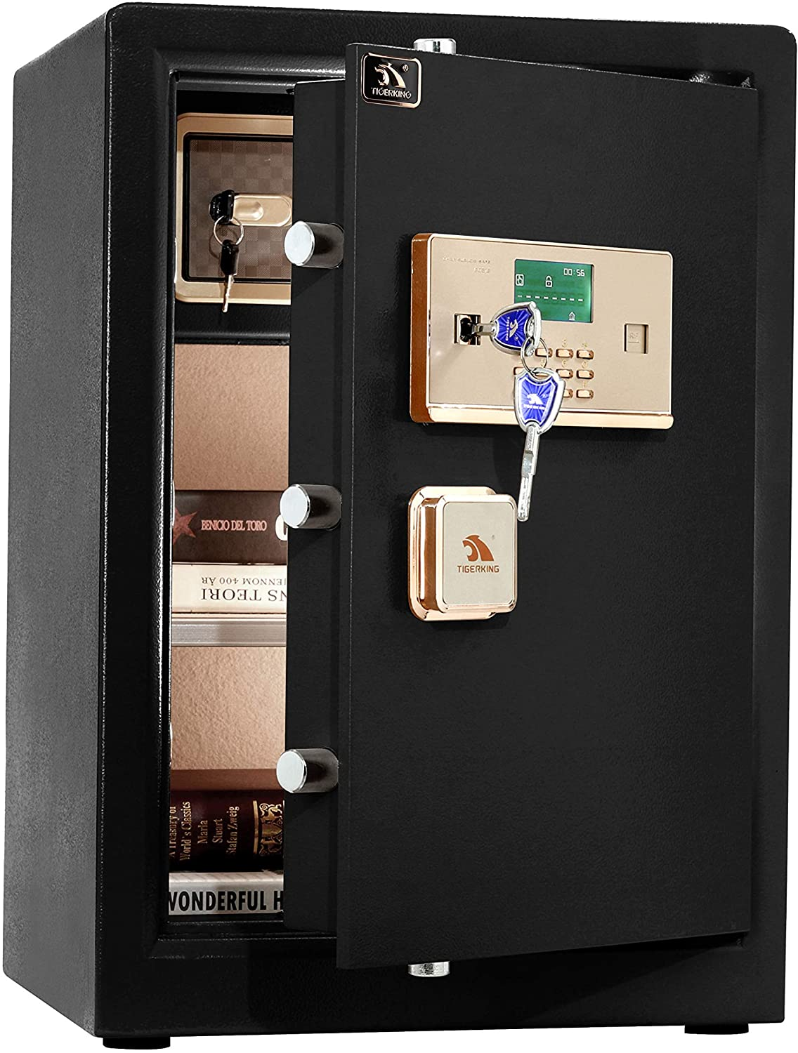 TIGERKING Digital Security Safe Box,Double Safety Key Lock and Password,Special own Interior Lock Box Safe for Home Office 3.7 Cubic Black: Office Products