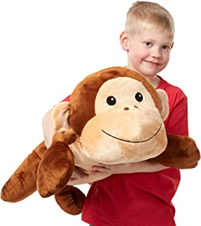 Melissa & Doug Cuddle Monkey Jumbo Plush Stuffed Animal (Reusable Activity Card, Nametag, Over 2 Feet Long, Great Gift for Girls and Boys - Best for All Ages)