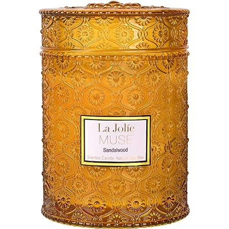 LA JOLIE MUSE アロマキャンドル 白檀の香り ガラスの瓶 550g 90時間 ギフト プレゼント