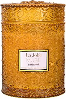 LA JOLIE MUSE Wood Wick 19.4 oz Sandalwood Scented Candles Soy Wax Candle Large Glass Jar 90 Hours, Gift Candle for Her