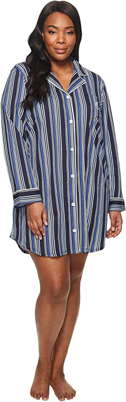 LAUREN Ralph Lauren - Plus Size Long Sleeve Notch Collar Sleepshirt