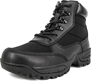 Men's 6 Inch Military Tactical Ankle Boots Lightweight Police Duty Work Shoes with Side Zipper, Black