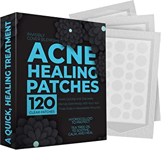 Pimple Patch Acne Treatment - Tea Tree Oil (120 Count), Hydrocolloid Bandages (3 Sizes), Acne Spot Treatment for Face Acne, Hydrocolloid Acne Patch, Pimple Patches. Hydrocolloid Patch Acne Dots
