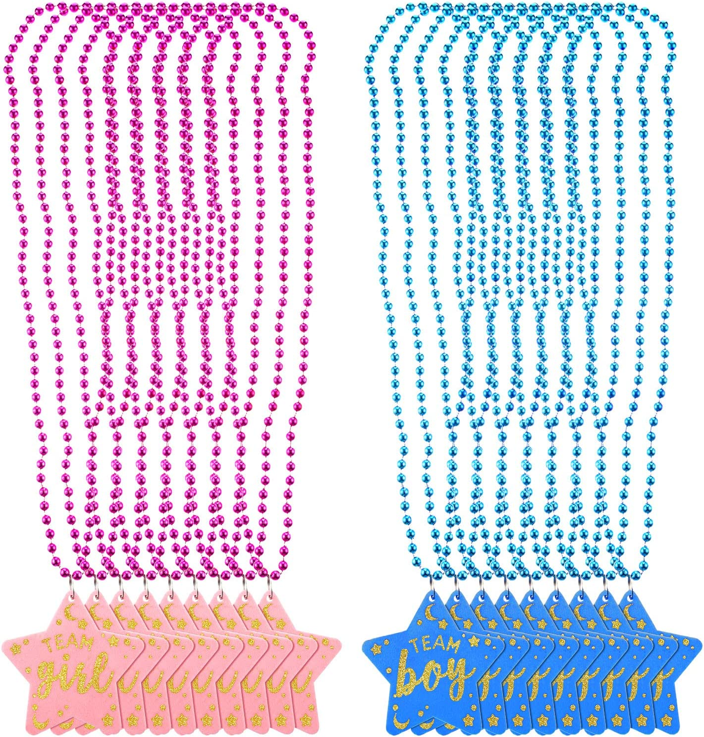 18 Pieces Baby Gender Reveal Beads 5 mm Round Bead Necklaces with Team Boy Team Girl Felt Pendant Ornaments for Gender Reveal Party Baby Shower, Pink and Blue