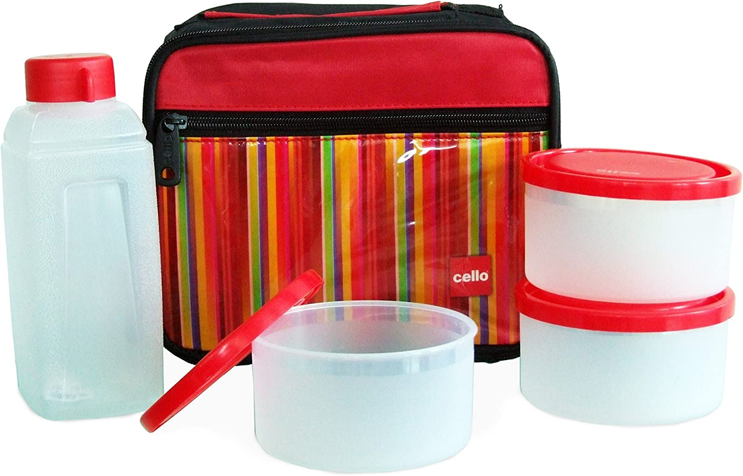 Cello Go 4 Eat We OFFer at cheap prices Soft Max 88% OFF Touch Set Lunch Box Red of Plastic