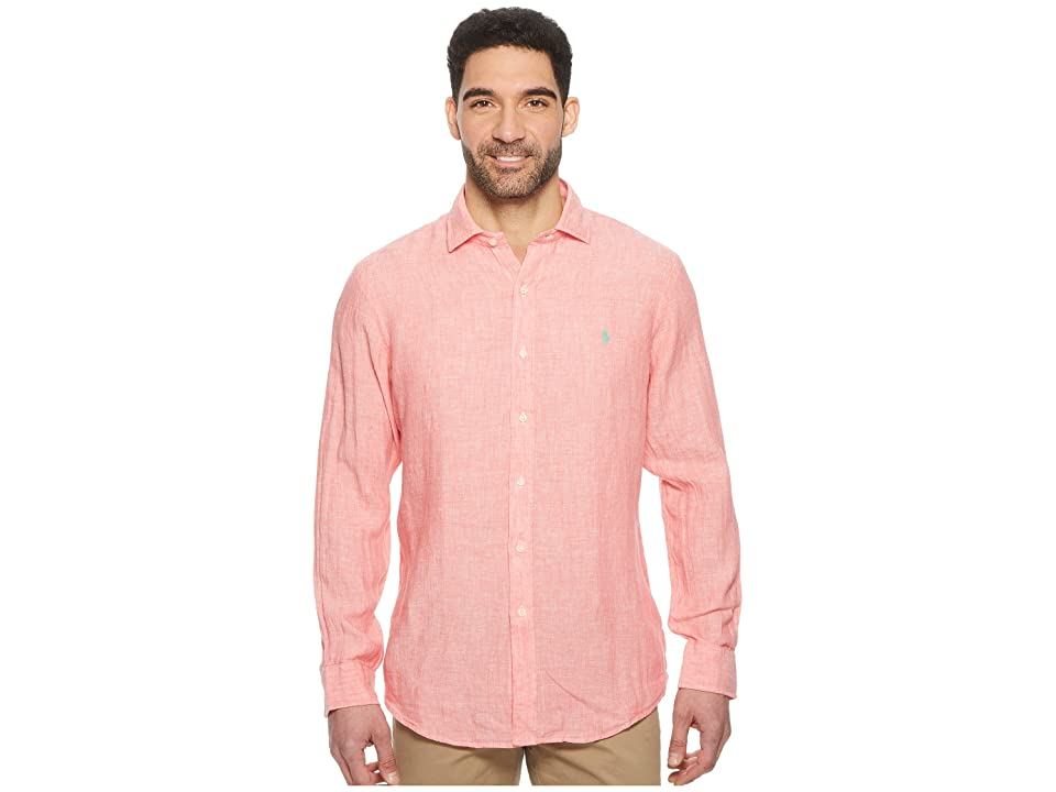 Polo Ralph Lauren Linen Spread Long Sleeve Sport Shirt (Rose/White) Men