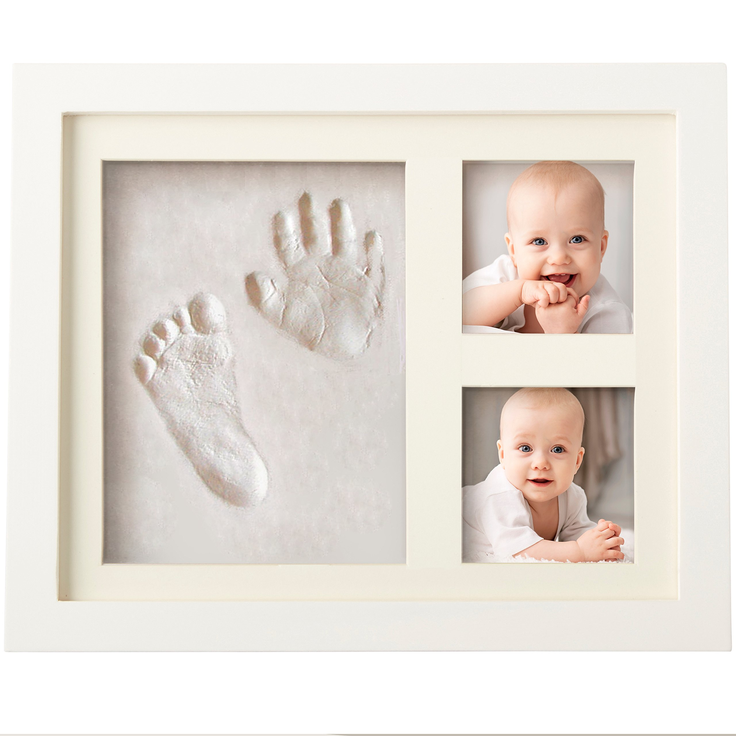 Bubzi Co 婴儿手印工具包和足印照片框架适合新生儿男女宝宝,婴儿照片相册适合淋浴登记,个性化婴儿礼物,纪念品盒装饰房壁托儿所装饰