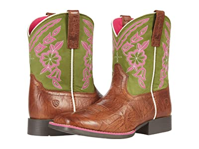 Ariat Kids Wiggle Roomtm Cattle Cate (Toddler/Little Kid/Big Kid) (Copper Penny/Green) Cowboy Boots