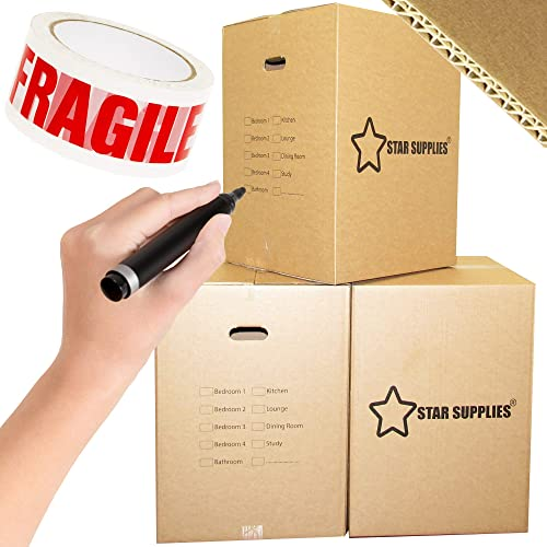 """10 Extra Large Cardboard Boxes - Double Walled with Carry Handles (24"""" x 17"""" x 17""""). for Removals, House Moving, Packing, or Shipping. Includes Fragile Tape Roll, Black Marker Pen & Room Tick List"""