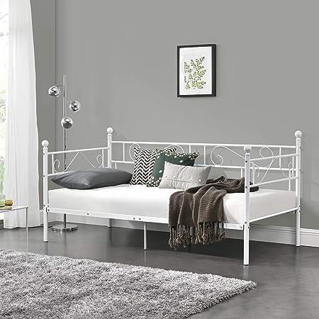 [en.casa] Divano Letto Metallo 200 x 90 cm Sofa Singolo Design Incluso Rete a Doghe Bianco