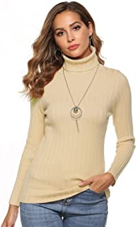 demonlick Women's Basic Long Sleeve Solid Lightweight Soft Knit Mock Turtleneck Pullover Slim Fit Tops Sweater