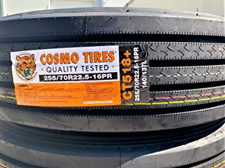 Set of 6 (SIX) Cosmo CT518 Plus Commercial All-Season Radial Tires-255/70R22.5 140/137L LRH 16-Ply