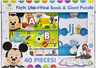 Disney Baby Mickey Mouse, Minnie, Princess, and More! - First Look and FInd Board Book & Giant 40 Piece Puzzle - PI Kids