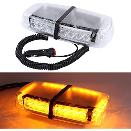 Amber High Intensity LED Magnetic Base Rooftop Emergency Hazard Warning Strobe Lights