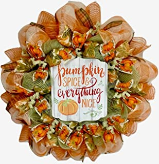 Pumpkin Spice and Everything Nice Harvest Burlap Wreath Handmade Deco Mesh