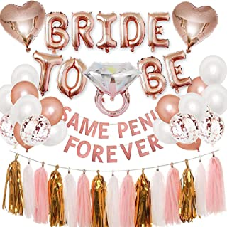 BLOOMWIN Bachelorette Party Decorations, Rose Gold Bride to Be Balloons Hen Party Banner Same Forever, Bridal Shower Decor...