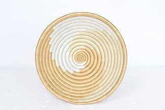Small Hand Woven African Basket - 7 Inches Sisal & Sweetgrass Basket - Handmade in Rwanda - White, Tan, SRB110