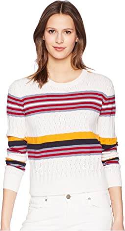 Long Sleeve Knit with Mixed Stitches and Colors