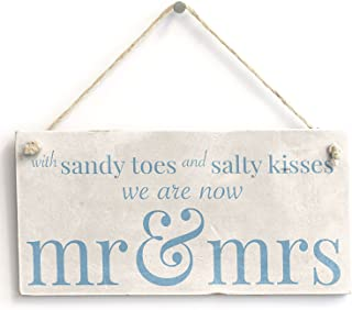 """Meijiafei with Sandy Toes Mr & Mrs - PVC Sign Beach Wedding/Married Sign 10""""x5"""""""