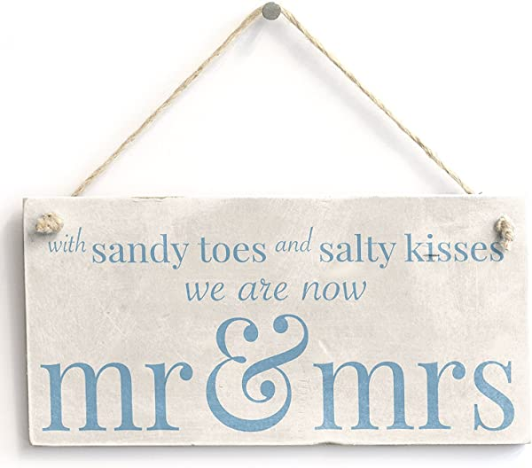 With Sandy Toes Mr Mrs Handmade Wooden Sign Beach Wedding Married Sign Wooden Hanging Sign 4 X 8