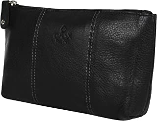 Leather Organizer Cosmetic Toiletry Travel Pouch - Handcrafted Black Color 20 CM size Portable Bag for Men and Women | Face Mask Hand Sanitizer Holder Daily Storage Small Makeup And Accessories
