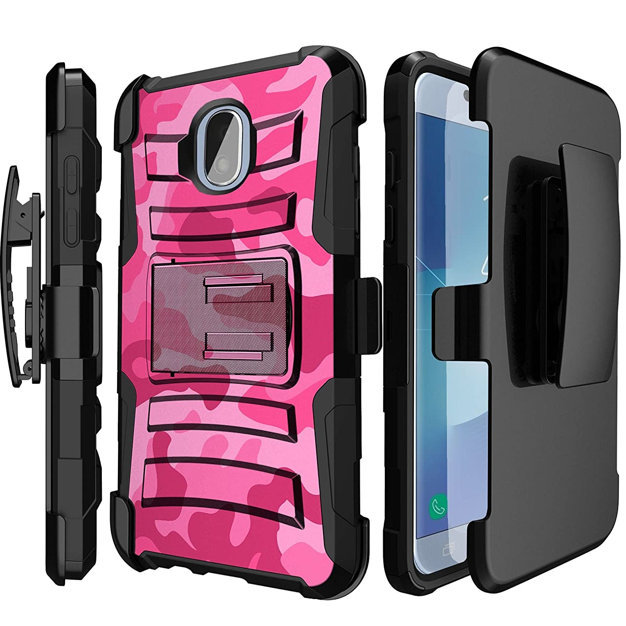 Rugged MINITURTLE Case Compatible w/Galaxy J7 2018,J7 V 2nd Gen,J7 Aero,J7 Star,J7 Top,J7 Crown,J7 Aura,J7 Refine,J7 Eon [Clip Armor] Rugged Exterior & Stand + Holster - Pink Camo