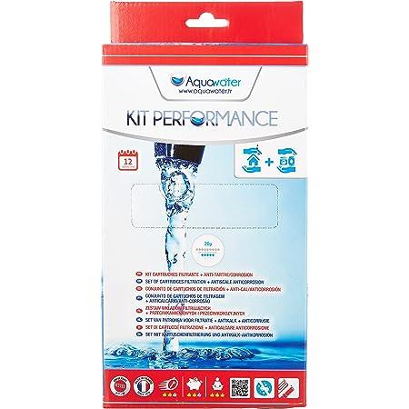 """AQUAWATER - 105010 - Kit Performance - Lot de 2 cartouches : 1 filtrante bobinée et 1 pour filtrer les impuretés contenues dans l'eau. Pour bol de taille standard 10""""- Durée de la cartouche 12 mois"""
