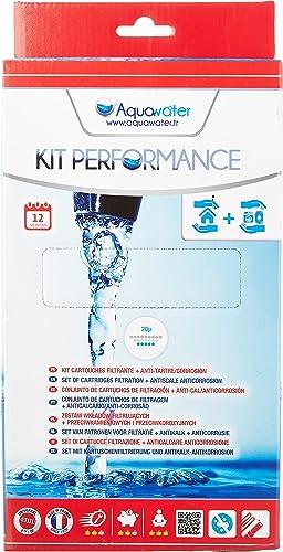 AQUAWATER - 105010 - Kit Performance - Lot de 2 cartouches : 1 filtrante bobinée et 1 pour filtrer les impuretés cont...
