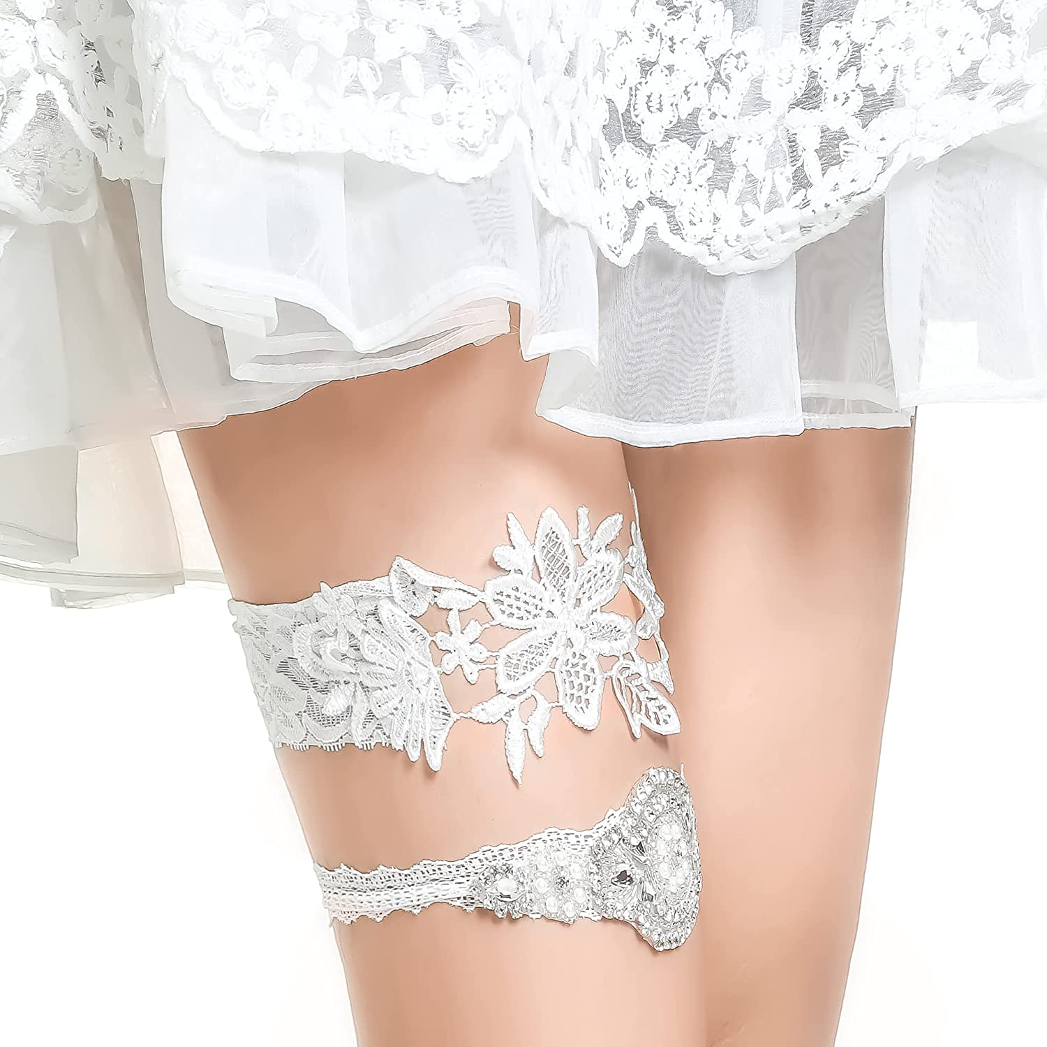 EXCEEDEGO Garter Fashionable for Women We OFFer at cheap prices Sexy Lace Ring Bowknot Foot Satin Leg