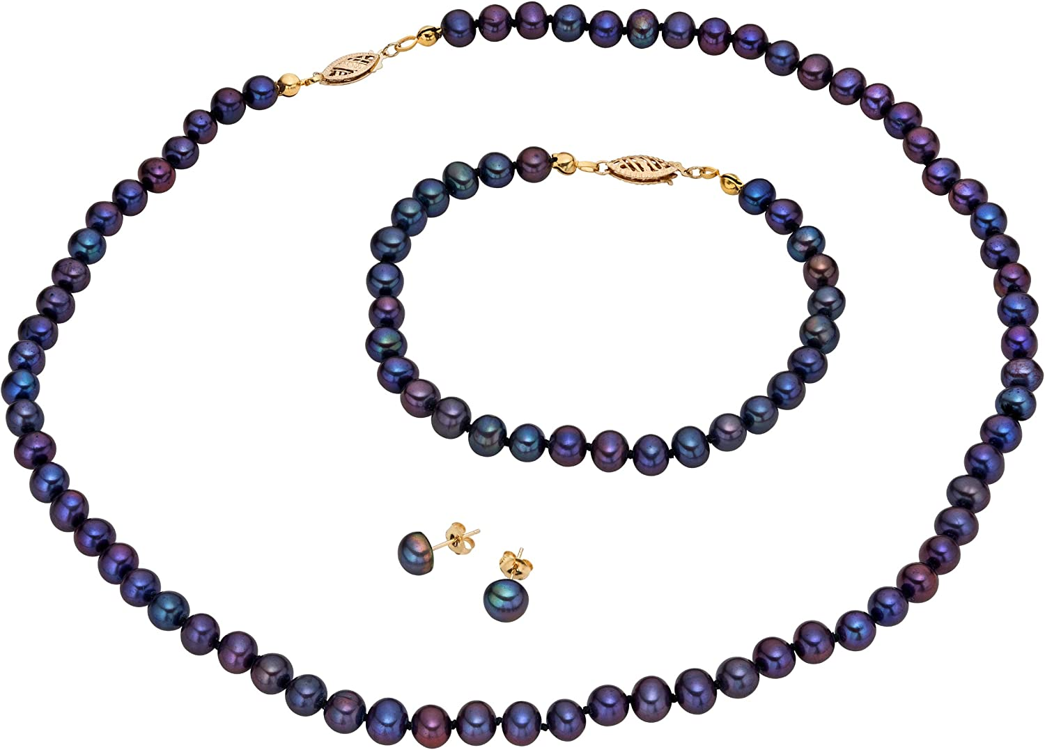 14k Gold Dyed-black Cultured Freshwater Pearl Jewelry Set (7-8 mm)