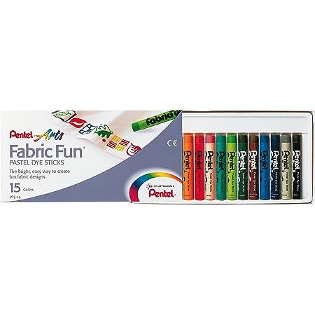Pentel - Ceras Fabric Fun para uso textil, Caja de 15 colores surtidos, 1 - Pack