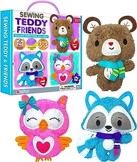 KRAFUN Sewing Kit for Kids Age 7 8 9 10 11 12 Beginner Art & Craft, Includes 3 Stuffed Animal Dolls, Instruction & Plush F...