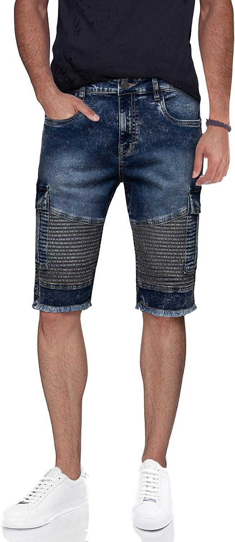 X RAY Men's Cargo Denim Shorts Slim Fit Casual Moto Frayed Hem Stretch Knee Length Jean Shorts for Men