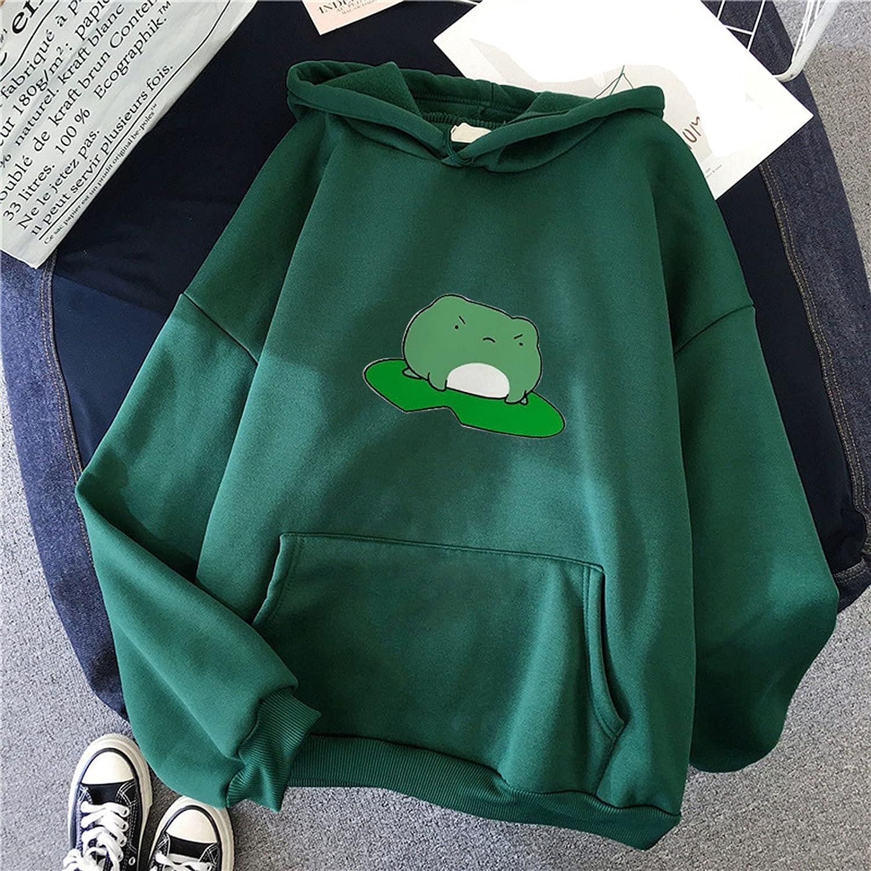 Hoodies for Women,Women's Long Sleeve Frog Hoodies Sweatshirt Kawaii Tops Cartoon Cute Teens Girls Casual Pullover Tunic