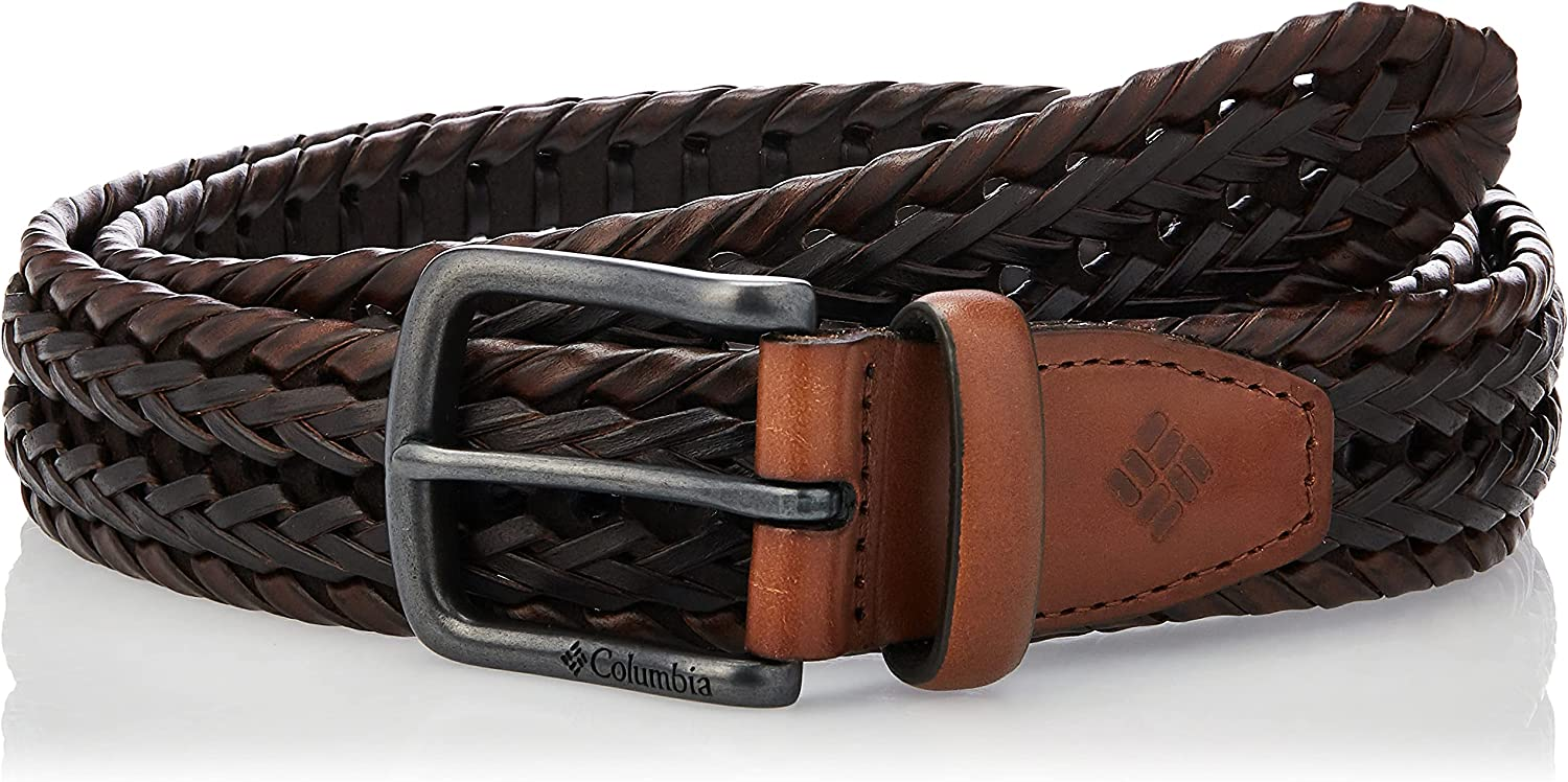 Columbia Men's Braided Belt-Casual Dress with Single Prong Buckle for Jeans Khakis