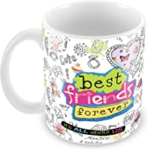 Tuelip Printed Best Friend Forever with Beautiful Graffiti Design Ceramic Tea and Coffee Ceramic Mug, 350ml, White