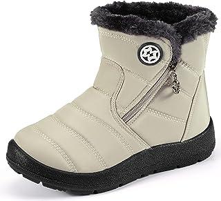 أحذية ثلج شتوية من KVbabby سهلة الارتداء مقاومة للماء أحذية للأولاد والبنات مضادة للانزلاق خفيفة الوزن للكاحل من الفرو الكامل