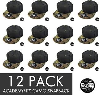 AcademyFits 6 Panel High Crown Hunting Digital Camo Flat Visor Snapback Hat Men Women Unisex Wholesale 12 Pack Lot #1013C