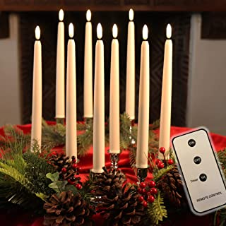 """Set of 10 Flameless LED Ivory 10"""" Taper Candles Featuring Realistic Black Wick with Daily Timer, Remote Control and 20 AA Batteries, Stands not Included"""