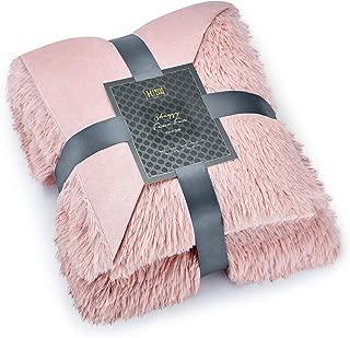 Hyde Lane Faux Fur Throw Rose Gold Blanket - 2 Way Reversible Fuzzy Pink Blanket   Luxury Shaggy Long Faux Fur & Cozy Mink   - Blush, 50x60