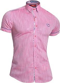 D&R Fashion Mondo Mens Linen Short Sleeve Shirt Cotton Slim Fit Point Collar Paisley Finish