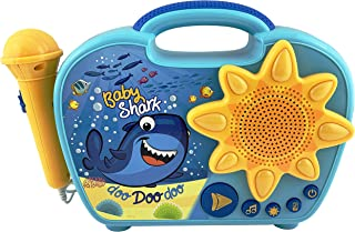 Baby Shark Sing Along Boombox with Microphone Built in Music Flashing Lights Real Working Mic Connects to MP3 Player Storage Compartment in Back for Audio Device