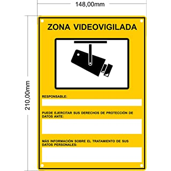 Pack 1 cartel disuasorio r/ígido para pegar o sujetar alarma conectada 24 horas PVC dise/ño exterior para colgar casa empresas talleres/… 1 ud - PVC