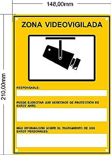 tualarmasincuotas.es Cartel Zona Videovigilada Nuevo Modelo HOMOLOGADO A5 Interior/Exterior Cartel Disuasorio PVC Flexible Placa Videovigilancia 21x15 cm Amarillo