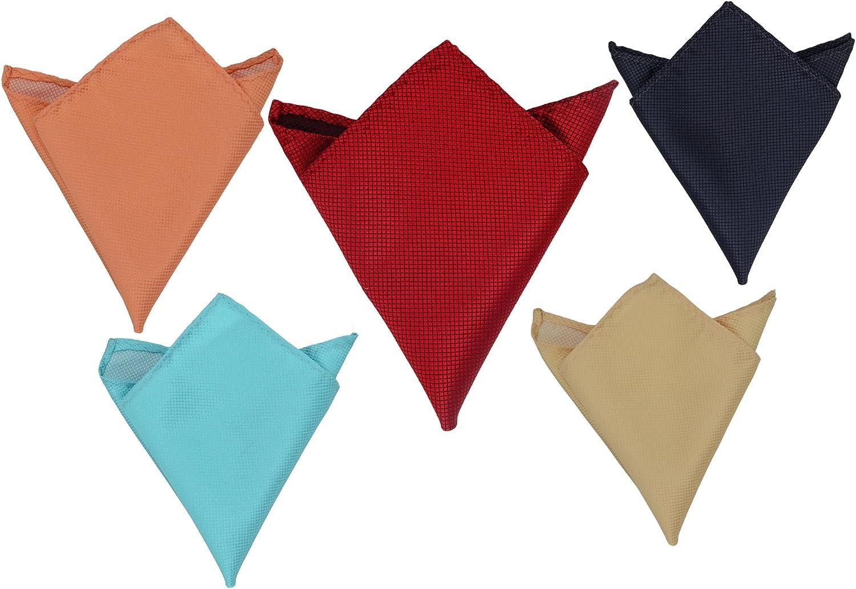 SYAYA 5pcs Men's Solid Color Pocket Squares Handkerchief Hanky HSP01 (color2)