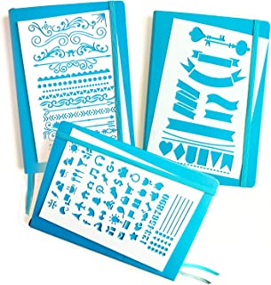 Journal Stencil Set - Banners, Dividers, Icons   Fits Leuchtturm & Moleskine A5 Bullet/Dot Notebooks   Best Used with Huhuhero Fineliners & Sakura Micron Pens …