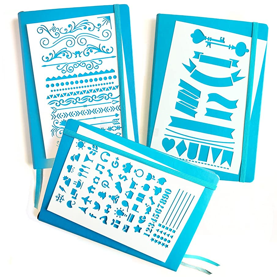 JOURNAL STENCIL SET - Banners, Dividers, & Icons | Fits Leuchtturm & Moleskine A5 Bullet / Dot Notebooks | Best used with Huhuhero Fineliners & Sakura Micron Pens …