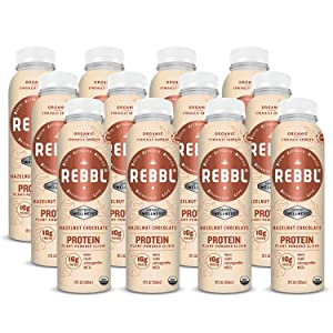 REBBL Plant Powered Protein Elixirs, Hazelnut Chocolate Protein, 12 Ounce (Pack of 12)